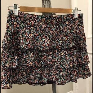 Express floral ruffle mini skirt